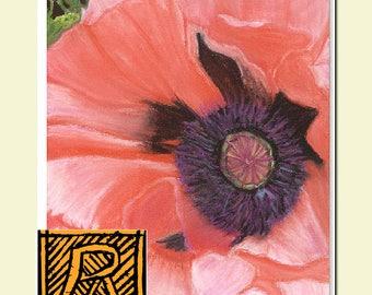 Flower Wall Print, Poppy, Summer Garden, Pink, Purple, Coral,