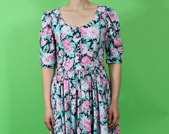 vintage 1980s laura ashley floral print   midi dress   cotton dress   short sleeve   made in great britain
