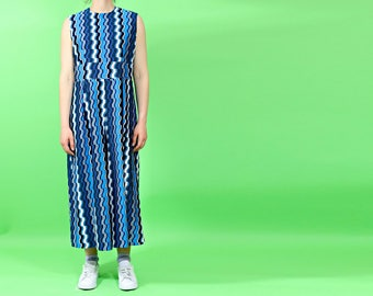 vintage 1970s jumpsuit   culotte playsuit   blue geometric romper   made in usa