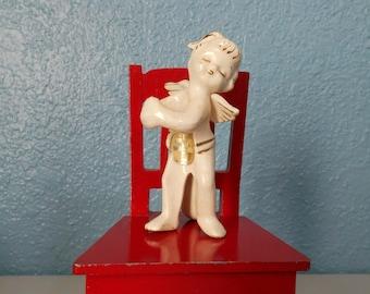 Vintage Christmas angel taper candle holder