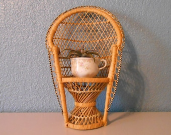 Vintage Large Peacock Chair. Wicker Chair, Bohemian Decor, Vintage Wicker,  Miniature Chair, Doll Chair, Plant Stand