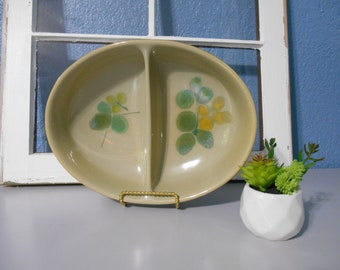 Franciscan Pebble Beach divided serving dish, Collectible dishes, Earthenware, Green dishes, Mid-Century kitchen, Retro dishes, Props