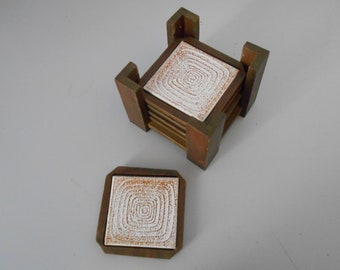 Stone and wood square coasters with holder