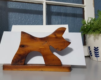 Scottie dog napkin or mail holder, Wood napkin holder, Dog decor, Handcrafted, One of a kind, Kitschy, Americana, Props, Staging
