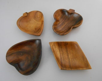 Playing card suit wood snack set