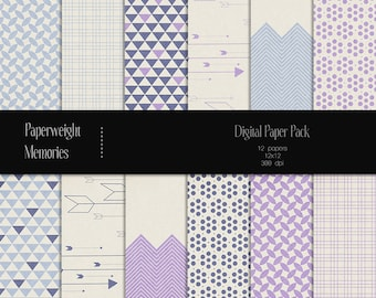 Blue Melodies - digital patterned paper - Instant Download -  digital scrapbooking - patterned paper, textured paper - Commercial use