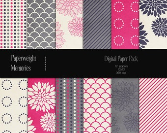 Pink Peonies - digital patterned paper - Instant Download -  digital scrapbooking - patterned paper, textured paper - CU OK