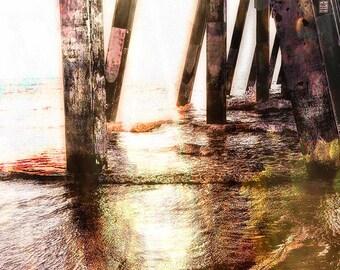 Beach Photography, Home Decor, Beach Decor, Sunrise, Coastal Wall Art, Wall Art, Print, Johnnie Mercer Pier, North Carolina 8x10, 11x14