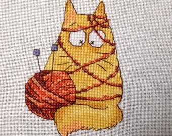 Cute completed cat cross stitch