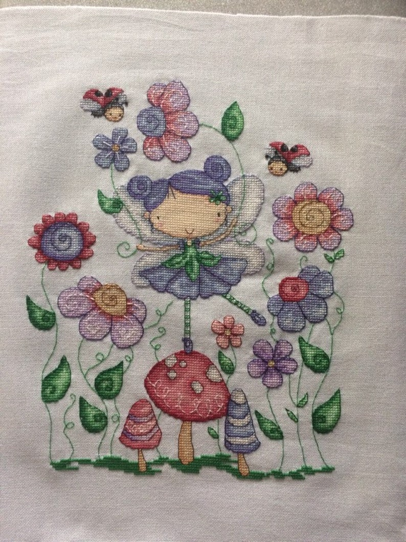Beautiful completed Fairy cross stitch