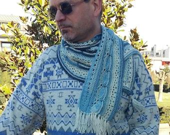 Crochet Scarf Handmade SkyBlue V-shape Unisex Merino Wool