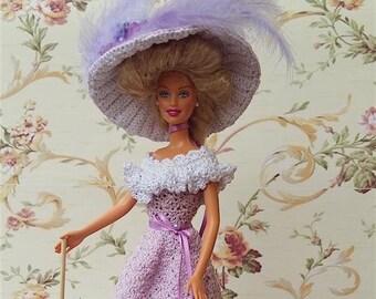 Barbie dress. Crochet Victorian dress for Barbie dolls. Violet Walking suit: dress, hat and parasol