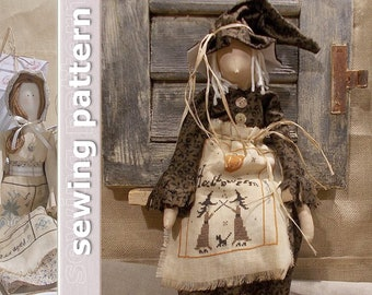 Primitive Doll Brianne sewing pattern and cross stitch chart