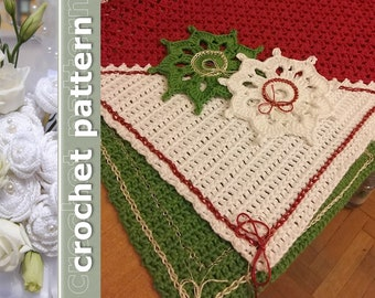 Crochet Pattern Christmas Tea Placemat and Coaster