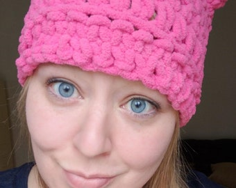 Coño rosa proyecto Kitty rosa gato Sombrero grueso gato gorro de ganchillo 201df3e887f
