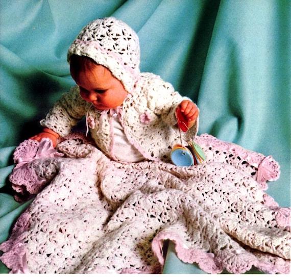 Vintage Crochet Baby Blanket Pattern Shell Blanket Hat