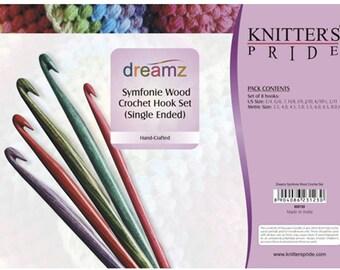 Knitters Pride Dreamz Symfonie Wood Crochet Hook Set of 8 Crochet Hooks with Case