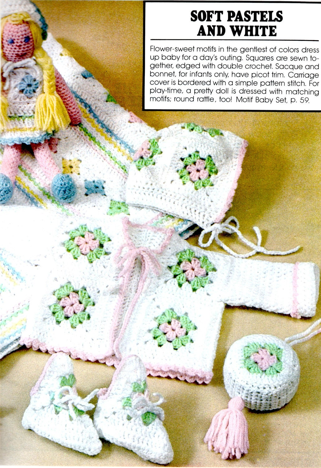 7c39105eb Crochet Pattern Granny Square Baby Blanket, Sweater, Hat, Booties, Rattle  and Doll Instant Download