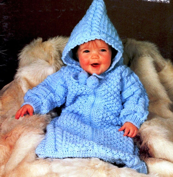 Vintage Knitting Baby Bunting Pattern Instant Download Etsy