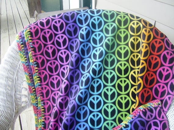 Crochet Pattern Peace Sign Fleece Crochet Edge Skip Stitch Etsy