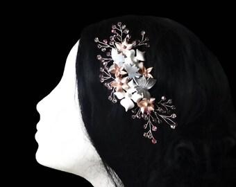 Bridal hair comb. Bridal hair vine. Wedding headpiece. Porcelain hair comb. Bridal headpiece. Wedding hair accessories. Crystal bridal comb.