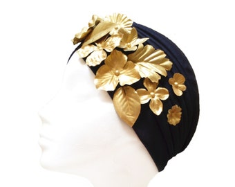 Black and gold women turban hat with floral ornament, Great gatsby accessories