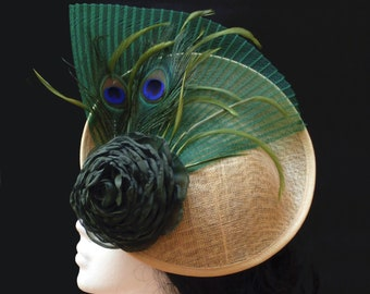Green and gold sinamay fascinator. Wedding headpiece. Ascot day hat. Feather hat. Saucer fascinator hat. Cocktail hat. Kentucky derby hat.