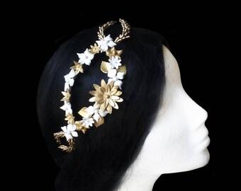 Wedding flower tiara. Bridal flower crown. Bridal hair vine. Gold and white wedding headpiece. Bridal tiara. Porcelain headpiece. Bridesmaid