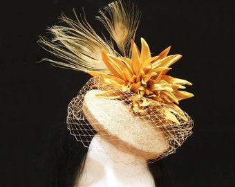Mustard wedding hat. Flower pillbox. Kentucky derby hat. Flower ascot hat. Flower fascinator. Tea party hat. Church headpiece. Cocktail hat