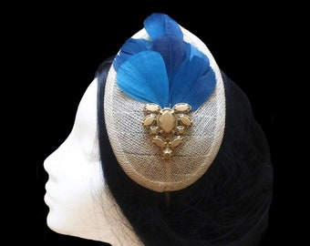 Beige and teal fascinator. Teardrop fascinator hat. Wedding headpiece. Ascot day hat. Feather hat. Cocktail hat. Kentucky derby hat.