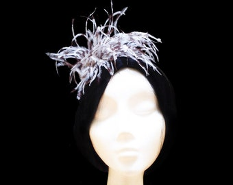 Feather bridal headpiece. Brown and white feather headpiece. Wedding headpiece. Bridal headband. Hair accessory. Flapper headpiece. Gatsby.