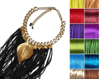 Fringe necklace. Long tassel necklace. Boho jewelry. Gold leaf necklace. Ethnic necklace. Bridesmaid necklace. Gift for her. Gift for mom.