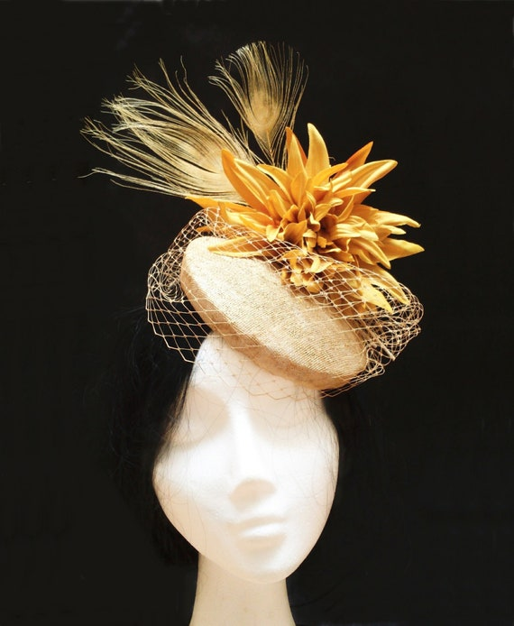 Mustard wedding hat. Flower pillbox hat.  7fb61a9c531