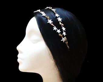Star headband. Bridal headband. Wedding headband. Bridesmaid headband. Star headpiece. Star crown. White and gold headband. Double headband.
