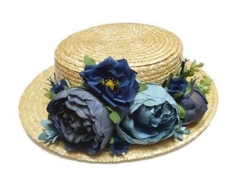 Boater hat. Straw hat. Flower boater hat. Raffia hat. Spring hat. Summer hat. Wedding hat. Bridal hat. Flower fascinator. Tea party hat.