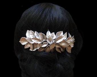Porcelain leaf bridal hair comb. Silver wedding comb. Wedding hairpiece. Bridal headpiece. Leaves headpiece. Gold headpiece. Bridesmaids.