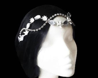 Rhinestone bridal headband. Bridal headpiece. Crystal headband. Flower headband. Wedding headpiece. Wedding headband. Silver and white bride