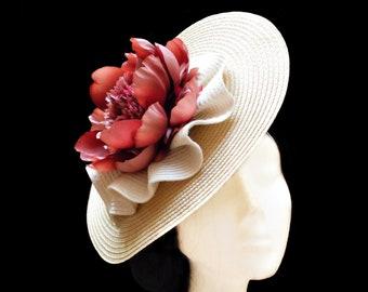 Beige, ivory and red wedding hat. Kentucky derby hat. Flower ascot hat. Flower fascinator. Tea party hat. Church headpiece. Cocktail hat.