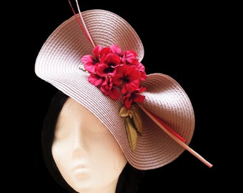 Wedding hat. Kentucky derby hat. Pink flower hat. Royal ascot hat. Couture hat. Wedding accessories. Wide brim hat. Big wedding hat.