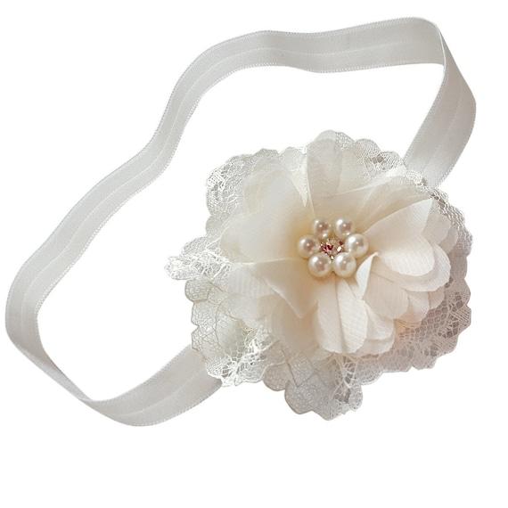 Baby Girl Ivory Flower Lace Christening Headband Halo Baptism Wedding Photo Prop