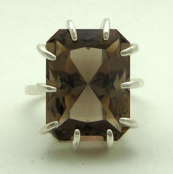 11.80 Carat Smoky Quartz Gemstone Ring Size 8 Sterling Silver Hand Cut Gem
