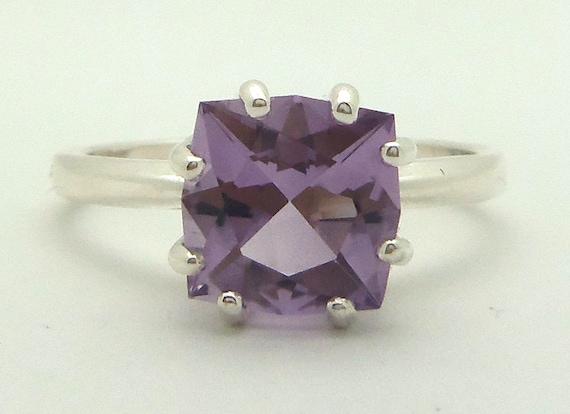 1.95 Carat Purple Amethyst Gemstone Ring Size 7 Sterling Silver Hand Cut Gem