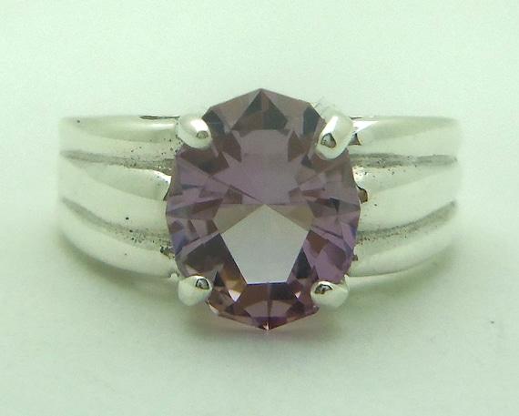 2.45 Carat Purple and Yellow Ametrine Gemstone Ring Size 7 Sterling Silver Hand Cut Gem
