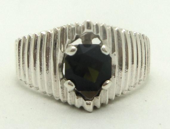 0.85 Carat Dark Green Tourmaline Gemstone Ring Size 7 Sterling Silver Hand Cut Gem