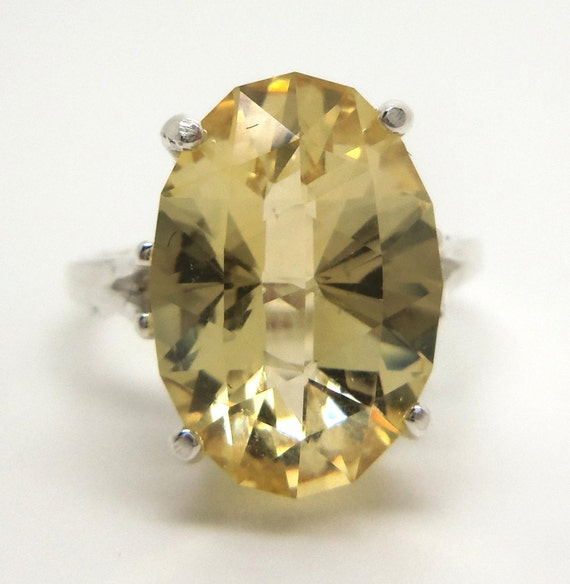 5.80 Carat Citrine Gemstone Ring Size 6 Sterling Silver Hand Cut Gem