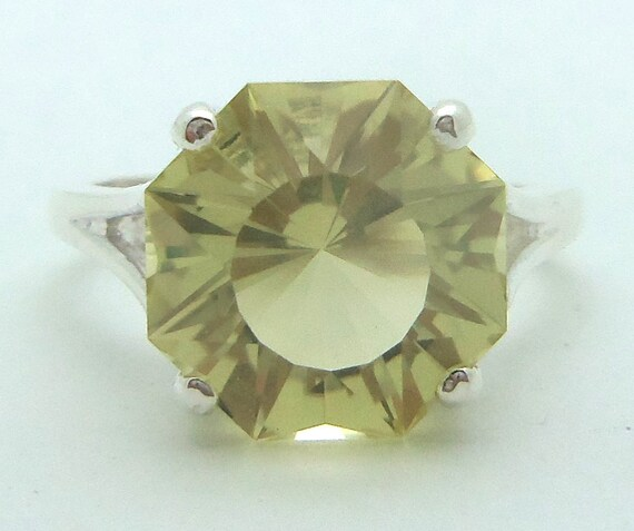 5.45 Carat Lemon Citrine Gemstone Ring Size 7 Sterling Silver Hand Cut Gem