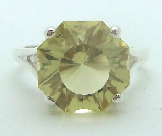 5.45 Carat Lemon Citrine Gemstone Ring Size 7 Sterling Silver Hand Cut Gem