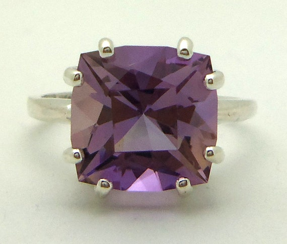 3.90 Carat Purple and Yellow Ametrine Gemstone Ring Size 5 Sterling Silver Hand Cut Gem