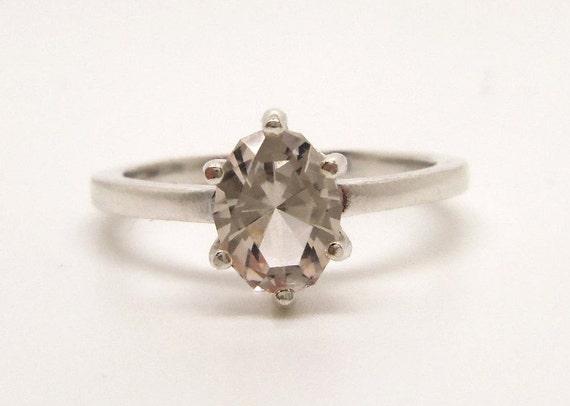 1.35 Carat Light Brown Topaz Gemstone Ring Size 7 Sterling Silver Hand Cut Gem