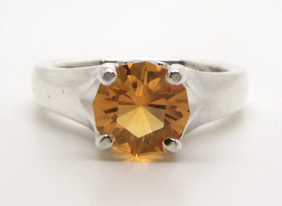 1.55 Carat Citrine Gemstone Ring Size 7 Sterling Silver Hand Cut Gem